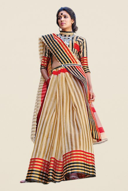 Salwar Studio Beige & Red Striped Saree