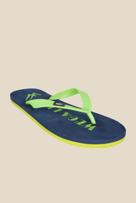 Wega Life Joy Green & Navy Flip Flops