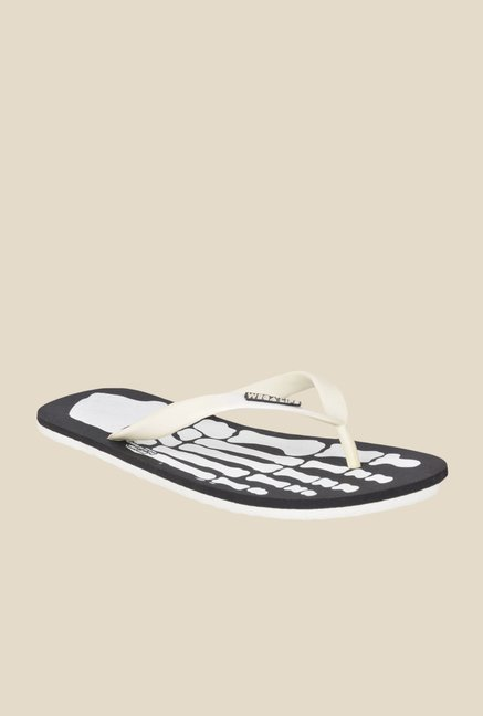 Wega Life Skeleton White & Black Flip Flops