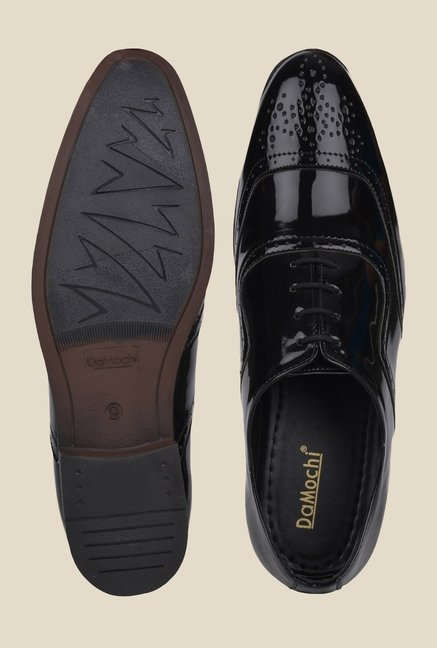 DaMochi Alson Patent Black Brogue Shoes