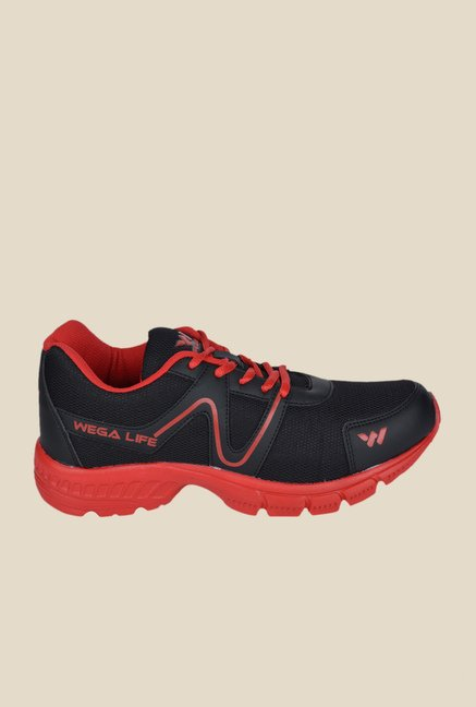 Wega Life Air Black & Red Running Shoes