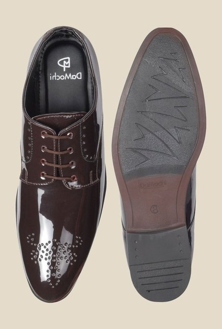 DaMochi Hobart Patent Brown Derby Shoes