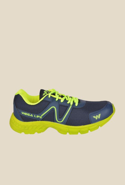 Wega Life Air Navy & Green Running Shoes