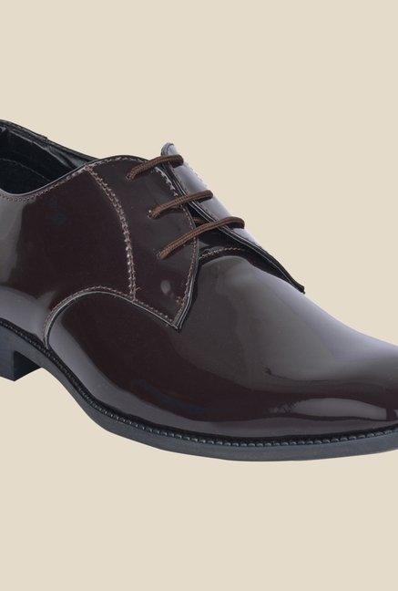 DaMochi Bogota Patent Brown Derby Shoes