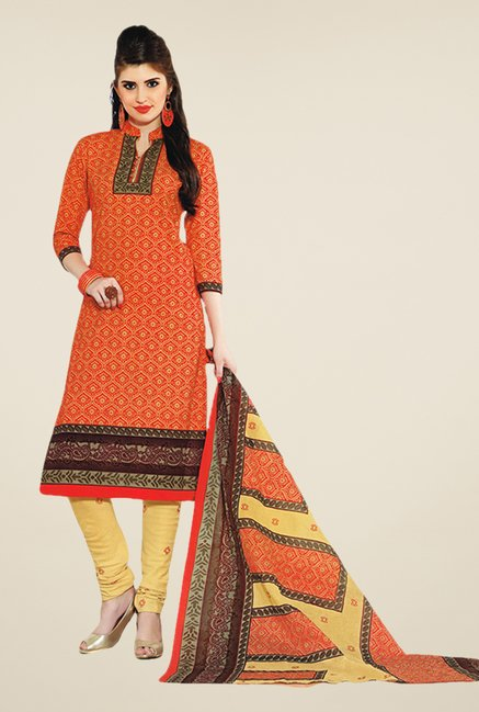 Salwar Studio Orange & Yellow Printed Dress Material