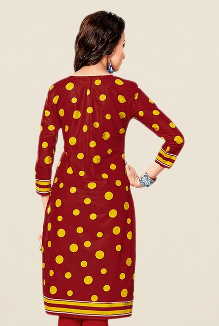 Salwar Studio Beige & Red Printed Unstitched Kurti