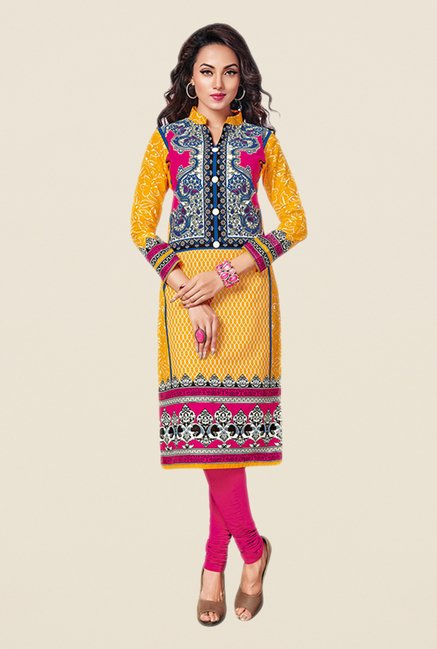 Salwar Studio Yellow & Pink Printed Unstitched Kurti