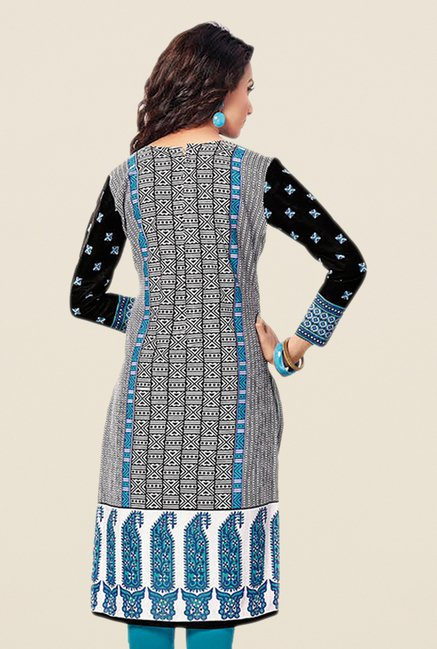 Salwar Studio Blue & Black Printed Unstitched Kurti