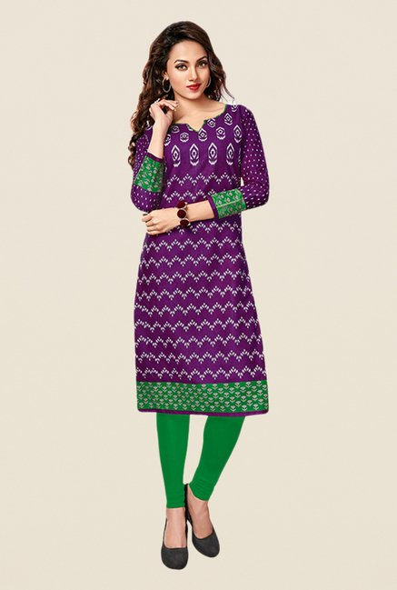 Salwar Studio Purple & Green Printed Unstitched Kurti