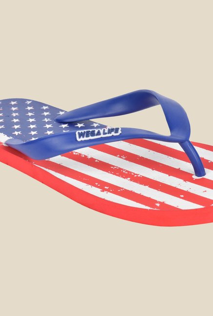 Wega Life Flag Blue & Red Flip Flops