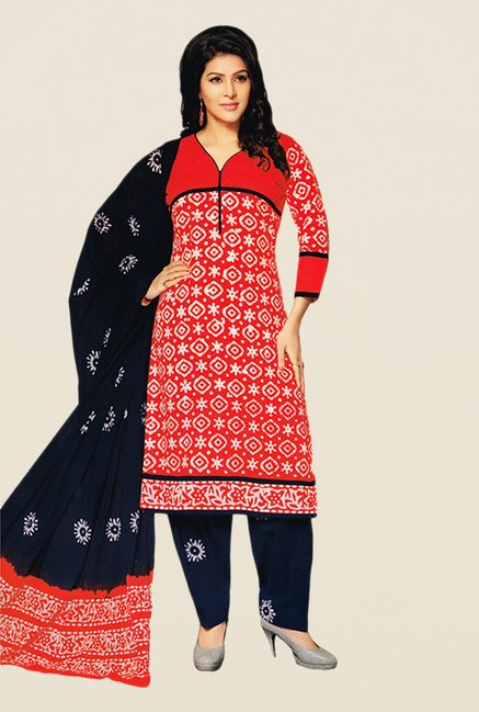 Salwar Studio Red & Navy Batik Dress Material