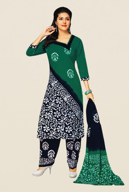 Salwar Studio Green & Navy Batik Dress Material