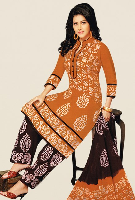 Salwar Studio Orange & Brown Batik Dress Material