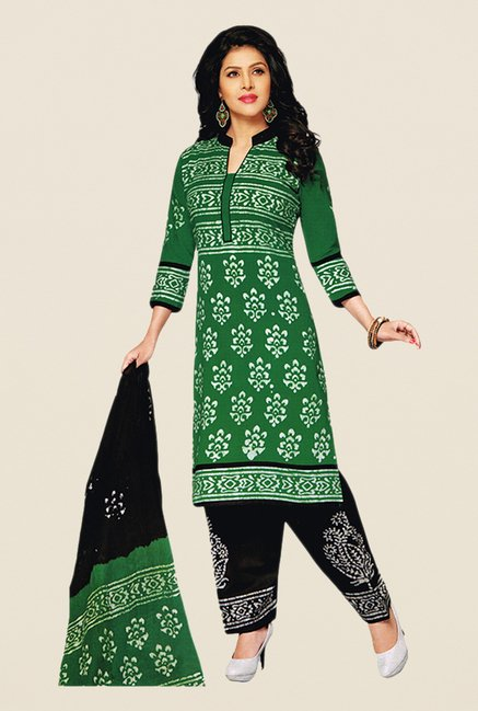 Salwar Studio Green & Black Batik Dress Material
