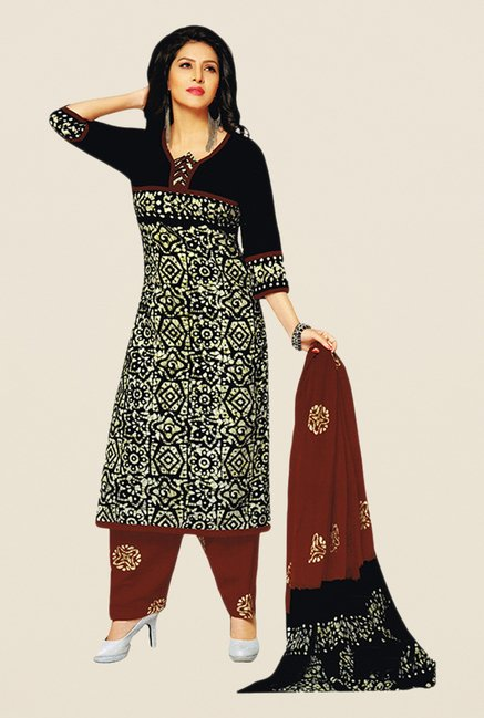 Salwar Studio Black & Maroon Batik Dress Material