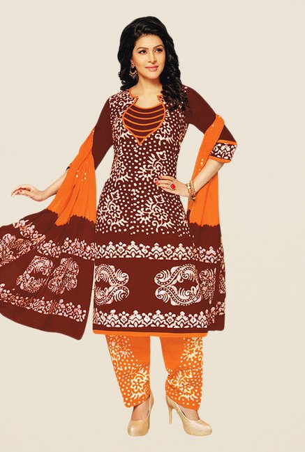 Salwar Studio Maroon & Orange Batik Dress Material