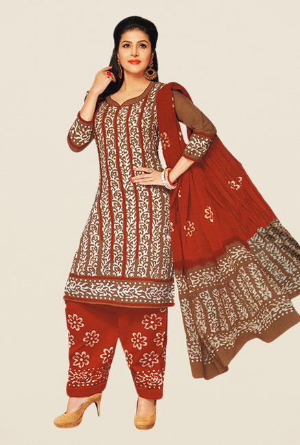 Salwar Studio Brown & Red Batik Dress Material