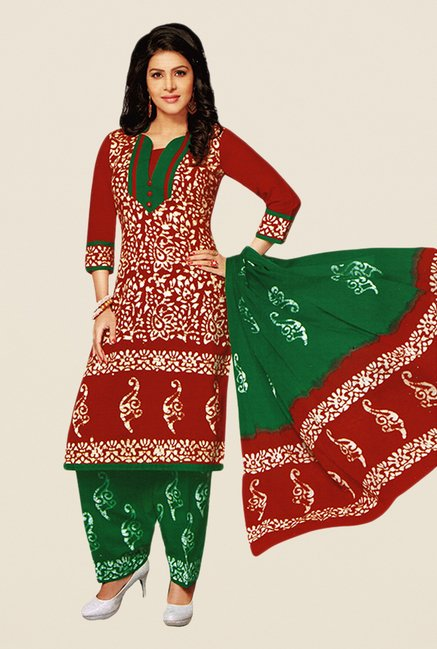 Salwar Studio Red & Green Batik Dress Material