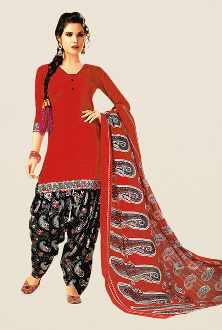 Salwar Studio Red & Black Paisley Print Dress Material
