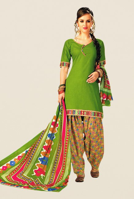 Salwar Studio Green & Yellow Printed Dress Material
