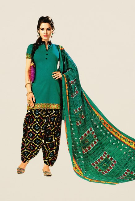 Salwar Studio Sea Green & Black Bandhani Dress Material