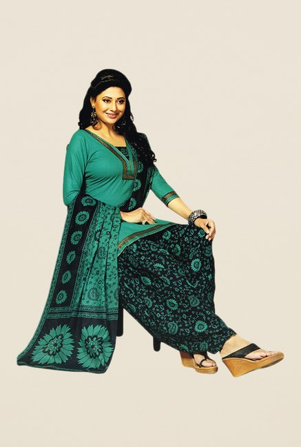 Salwar Studio Green & Black Floral Print Dress Material