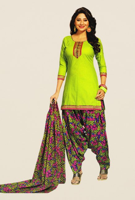 Salwar Studio Green & Pink Floral Print Dress Material