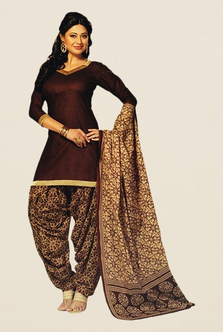 Salwar Studio Brown & Beige Printed Dress Material