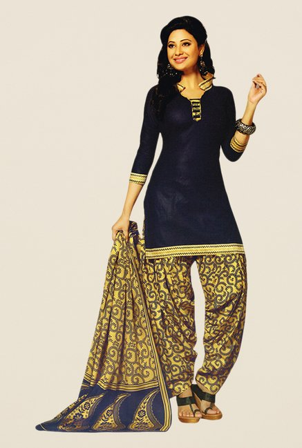 Salwar Studio Navy & Gold Printed Dress Material
