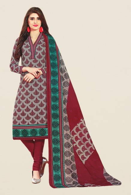 Salwar Studio Wine & Green Printed Cotton Dress Material