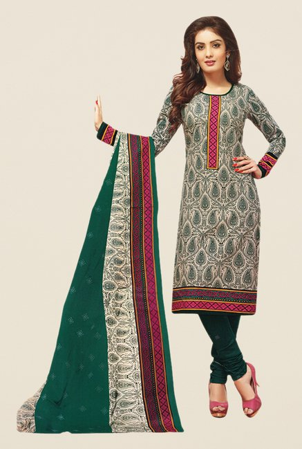 Salwar Studio Beige & Green Paisley Print Dress Material