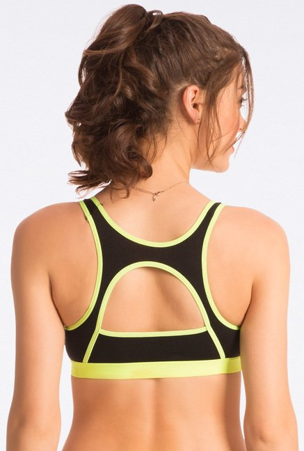 Pretty Secrets Black Neon Lime Sports Bra