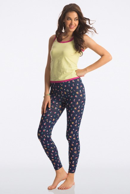 Pretty Secrets Navy Cheeky Floral Leggings