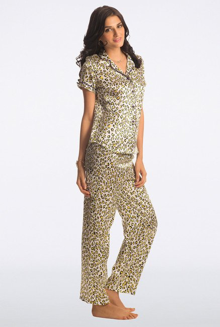 Pretty Secrets White Animal Print All Day Lounge Pyjama Sets