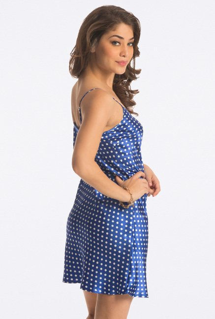 Pretty Secrets Blue Polka Ultimate Lounge Chemise