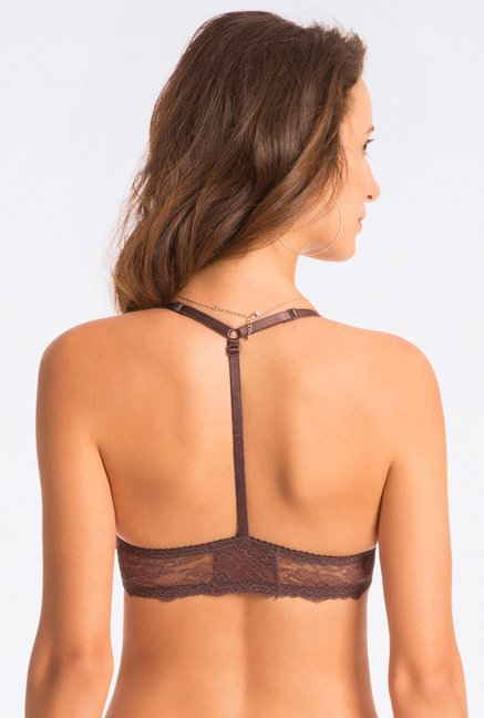Pretty Secrets Lace Tease Front Close Brown Racerback Bra