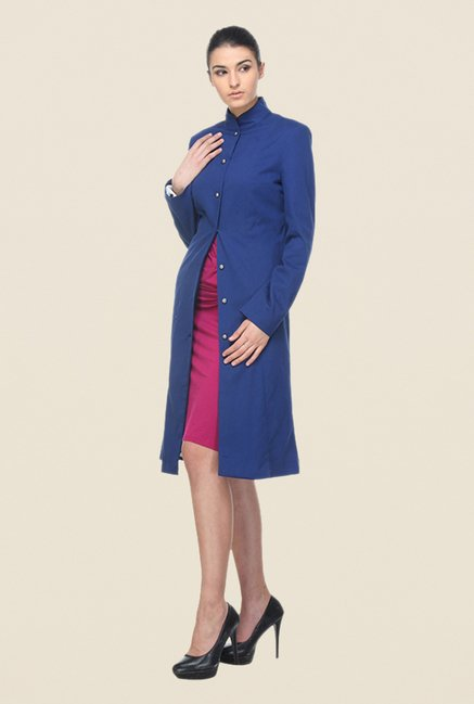 Kaaryah Blue Solid Coat