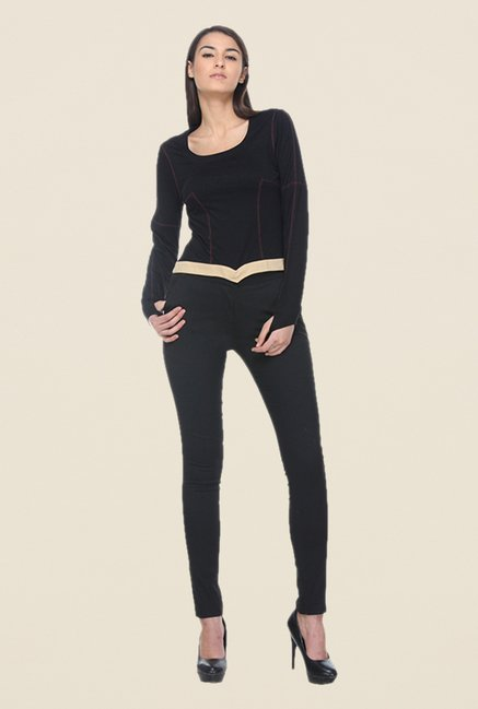 Kaaryah Black Viscose Solid Top