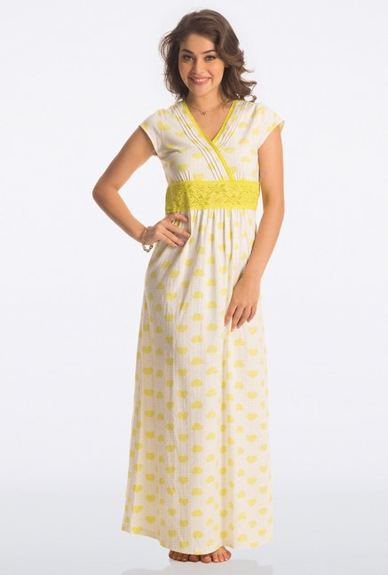 PrettySecrets Yellow Heart Print Long Nightdress