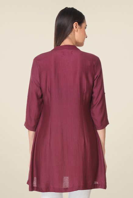 Kaaryah Wine Solid Tunic