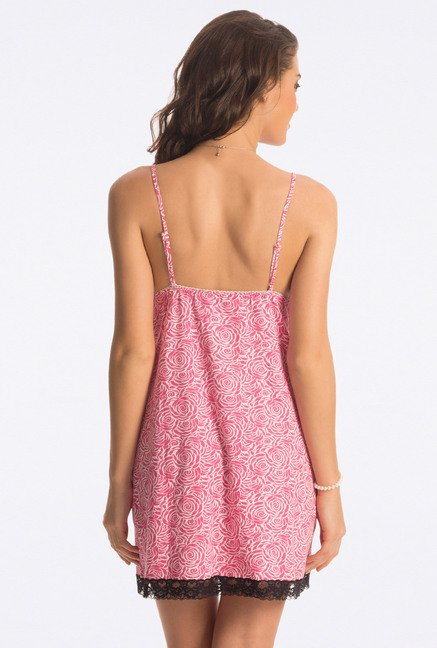 PrettySecrets Pink Rose Floral Print Chemise
