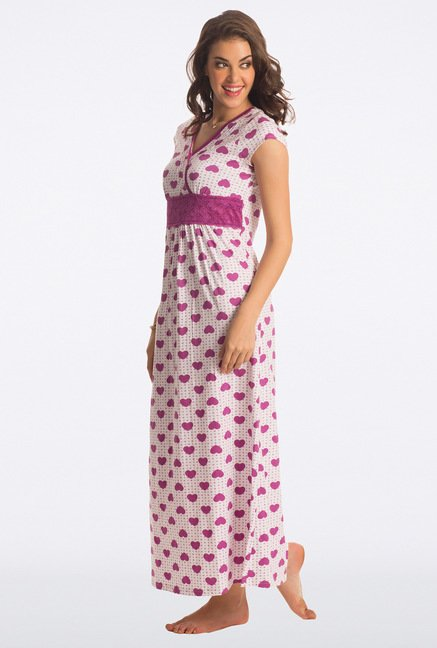 PrettySecrets Radiant Purple Heart Print Long Nightdress