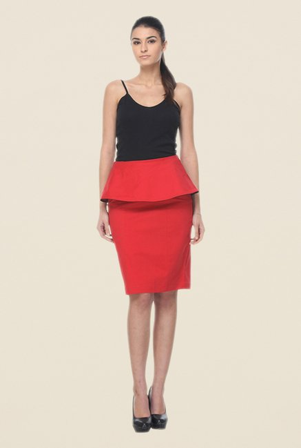 Kaaryah Red Peplum Skirt