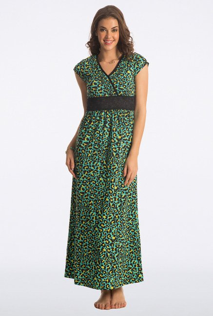 PrettySecrets Pine Green Animal Print Long Nightdress