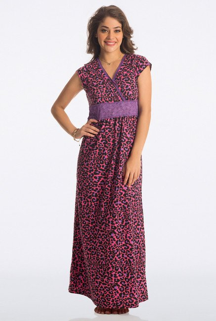 PrettySecrets Flirty Pink Animal Print Long Nightdress