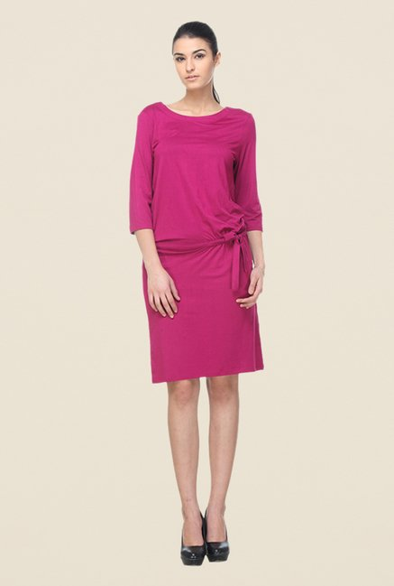 Kaaryah Magenta Solid Dress