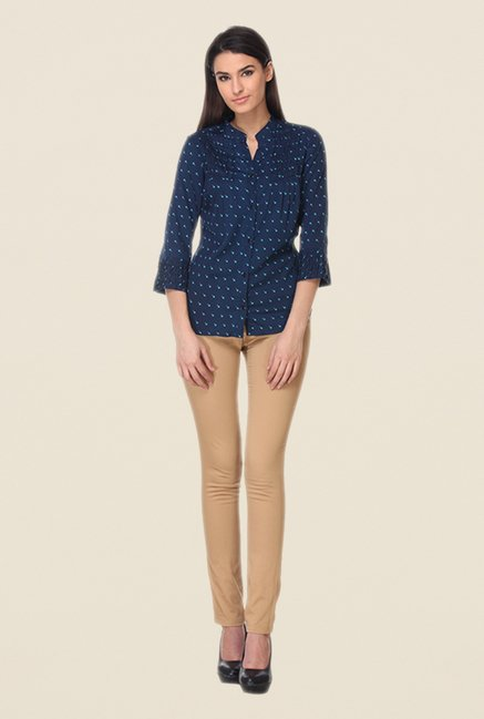 Kaaryah Navy Printed Shirt