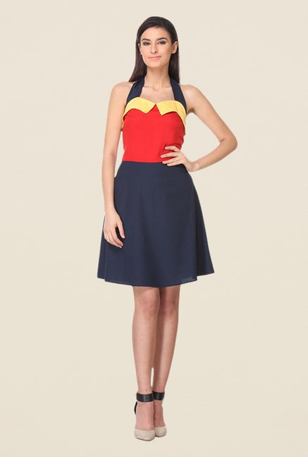 Kaaryah Navy & Red Halter Neck Dress