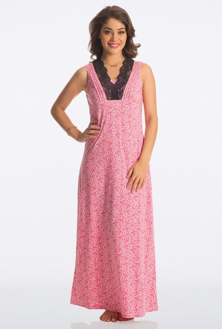 PrettySecrets Pink Rose Floral Print Long Nightdress