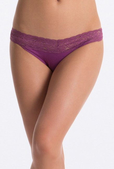 PrettySecrets Purple & White Lacy Thong (Pack of 2)
